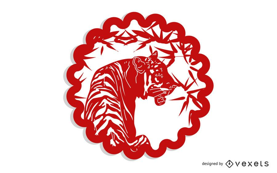 Vector Of Traditional Chinese Paper Cut Tiger