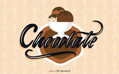 Chocolate ice cream illustration design