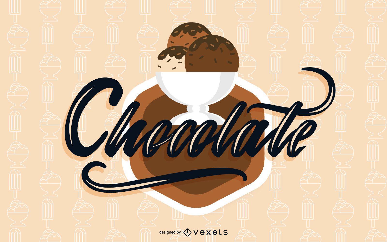 Chocolate ice cream illustration design