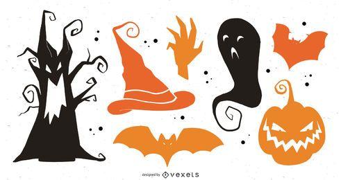Vector de elementos de Halloween