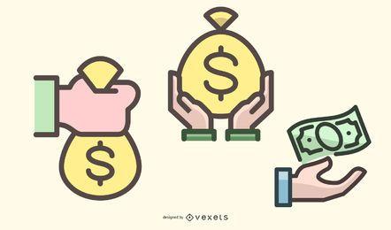 Paquete de iconos planos de manejo de dinero