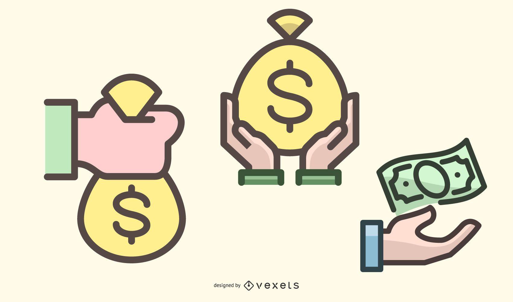 Money Handling Flat Icon Pack