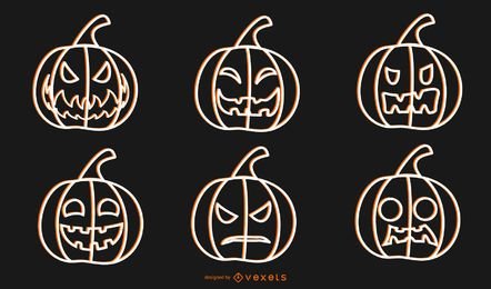 Halloween Vector Pumpkins Outline