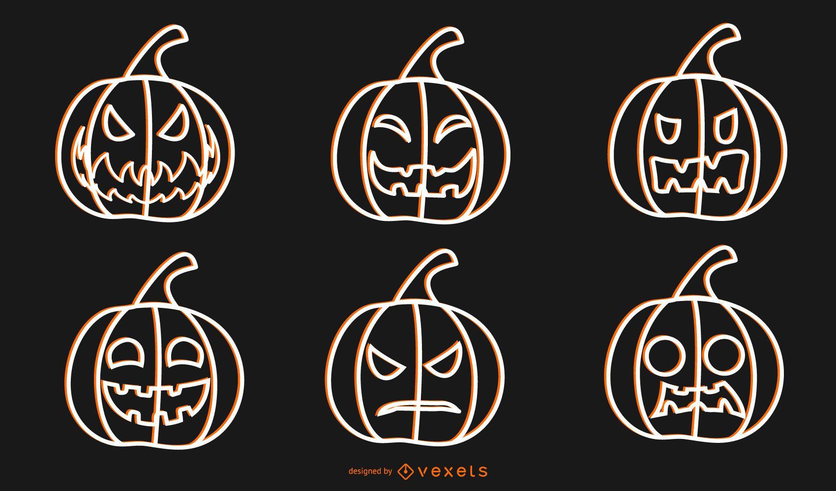 Halloween Vector Pumpkins Outline