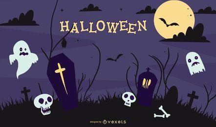 Material de ilustraciones vectoriales de halloween