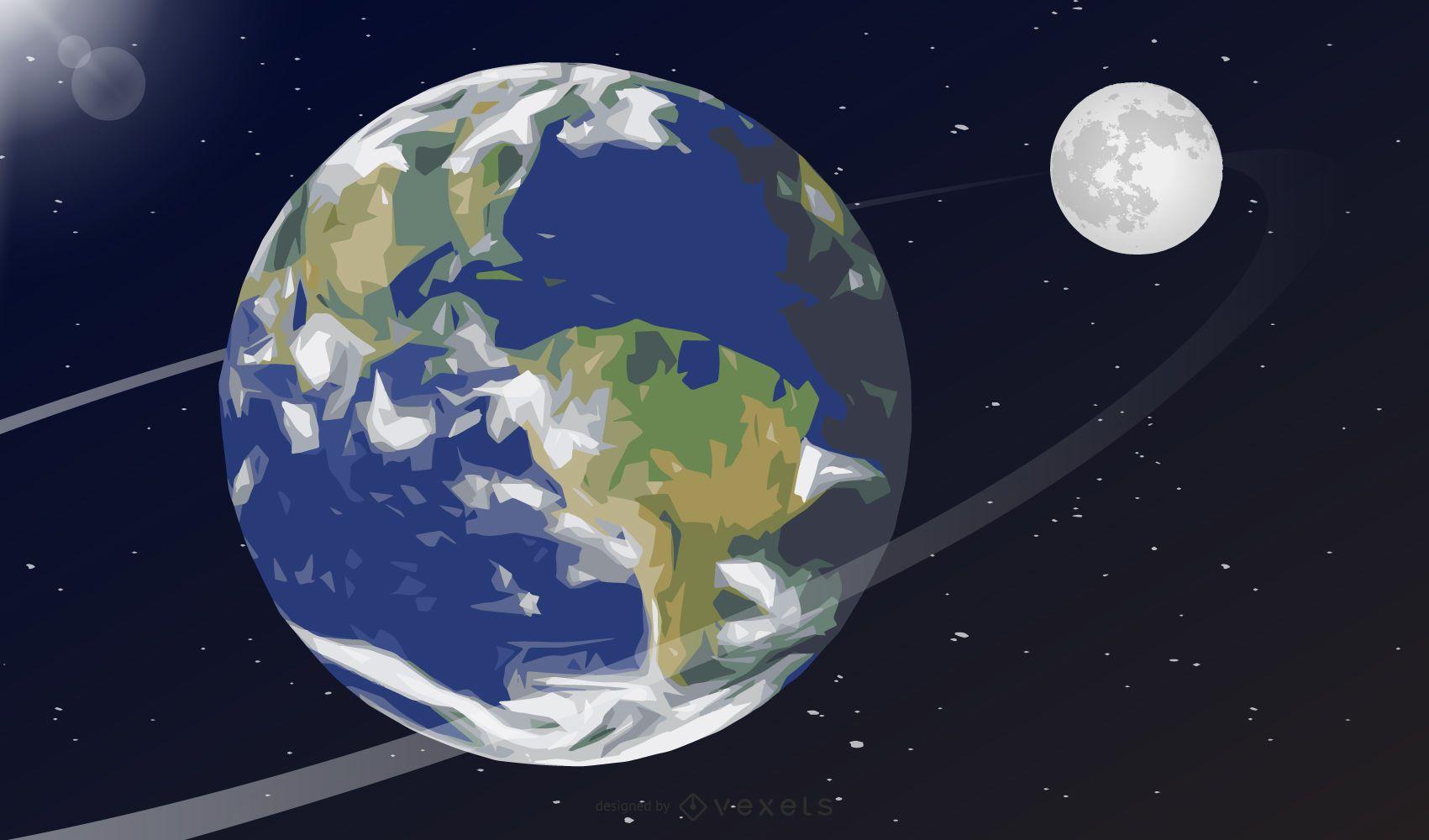 Ilustración de la tierra y la luna
