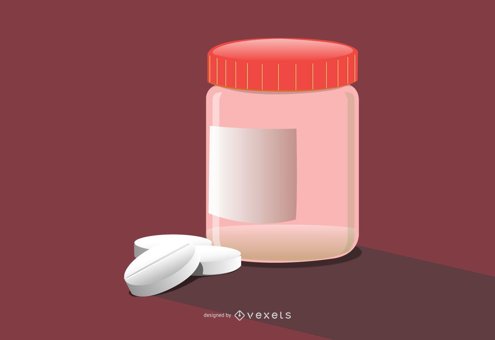 pills bottle illustration design
