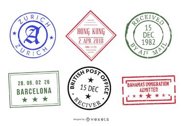 Conjunto de sello de sello de pasaporte