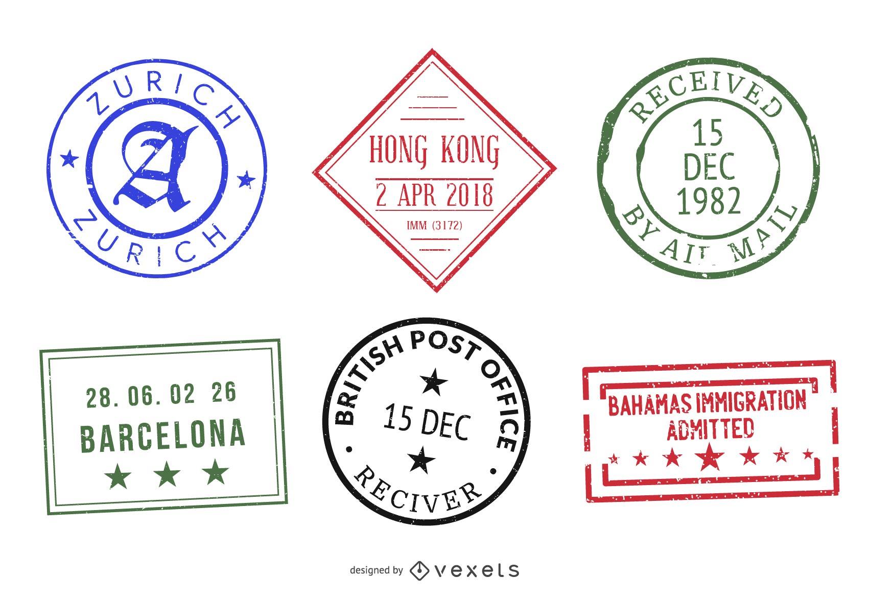 Passport Stamp Seal Set