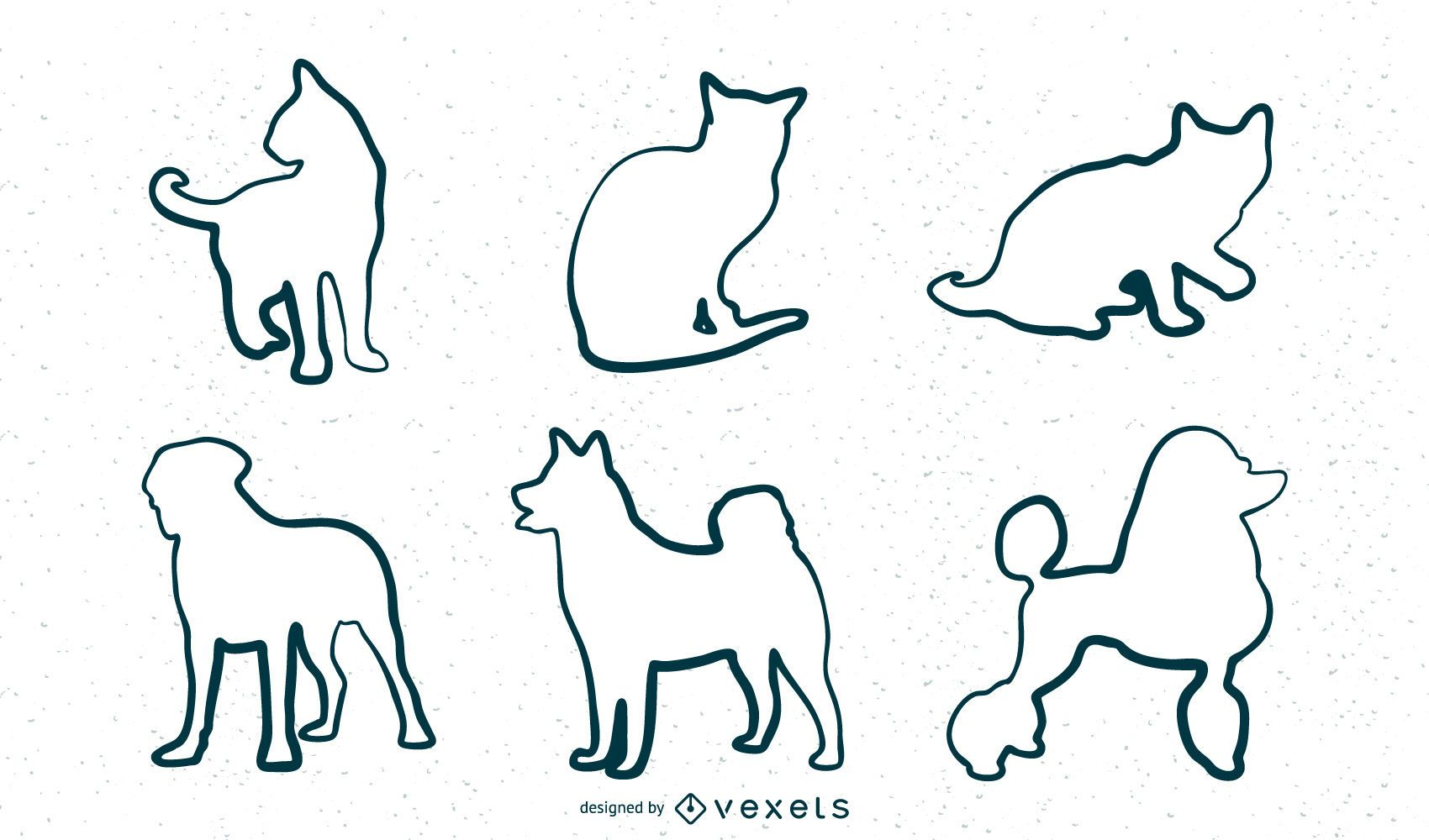 Conjunto de contorno de animales pintados a mano