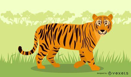 ilustração do tigre na selva