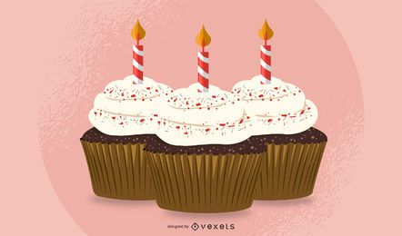 birthday cupcakes illustration design