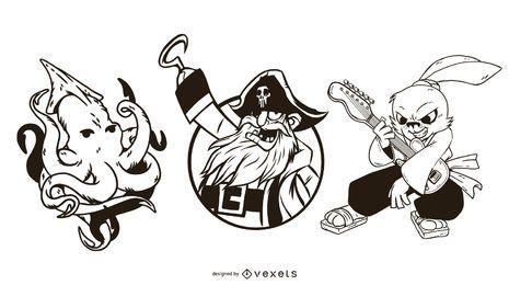 Pack de ilustraciones de piratas y animales