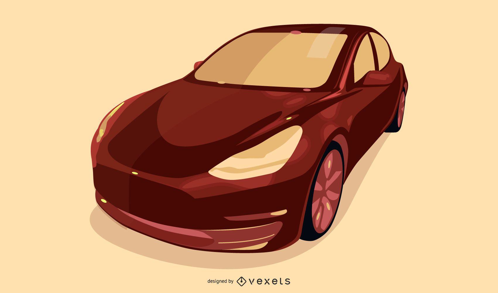 Modern red car illustration design
