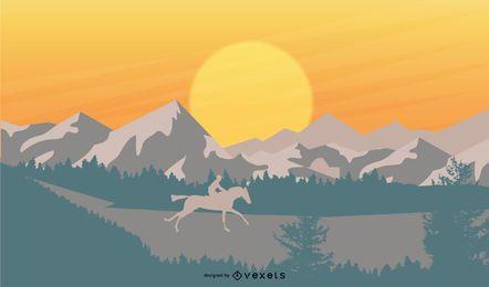Diseño de ilustración de puesta de sol de montañas
