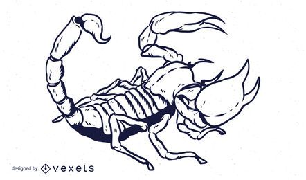 Diseño de contorno dibujado a mano de escorpión