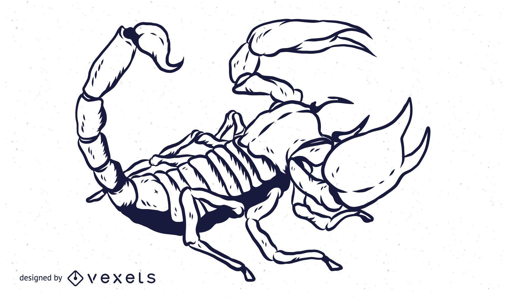 Dise?o de contorno dibujado a mano de escorpi?n