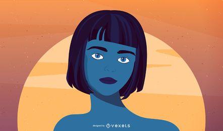 Illuistration azul da mulher
