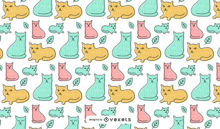 Cute Cat Design Draft Line 01 Vector