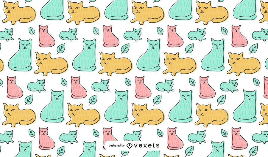 Design de padrão de gatos plana