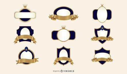 Kit mit 9 blauen und goldenen Emblemen