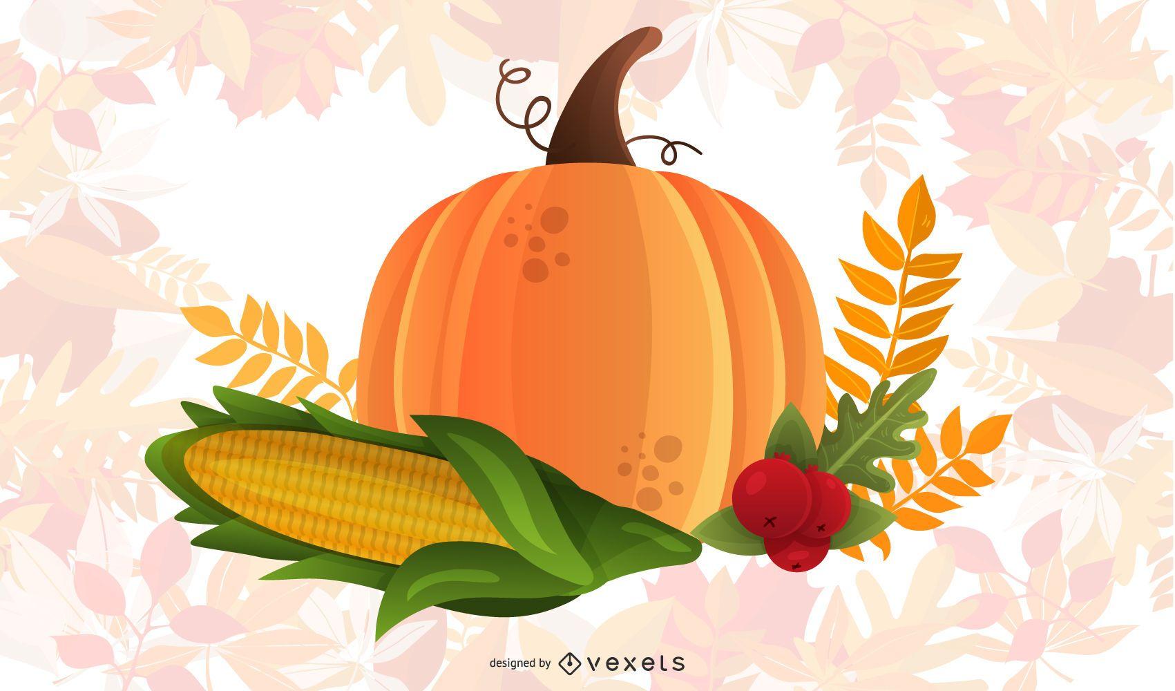 Autumn pumpkin corn and wheat illustration