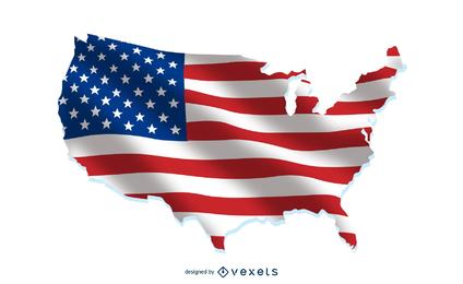Bandera de Estados Unidos sobre el mapa del país