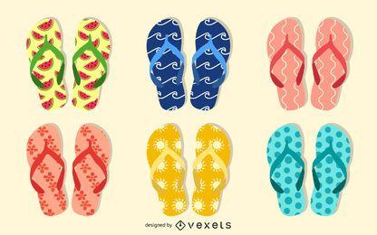 Summer flip flop illustration set