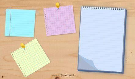 Vector de notas de papel de color
