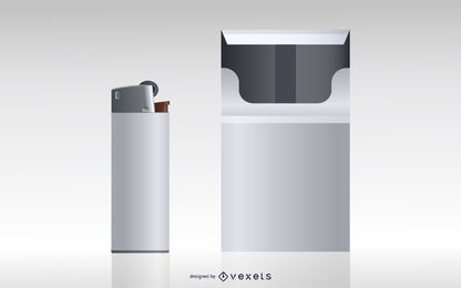Cigarette box and lighter illustration