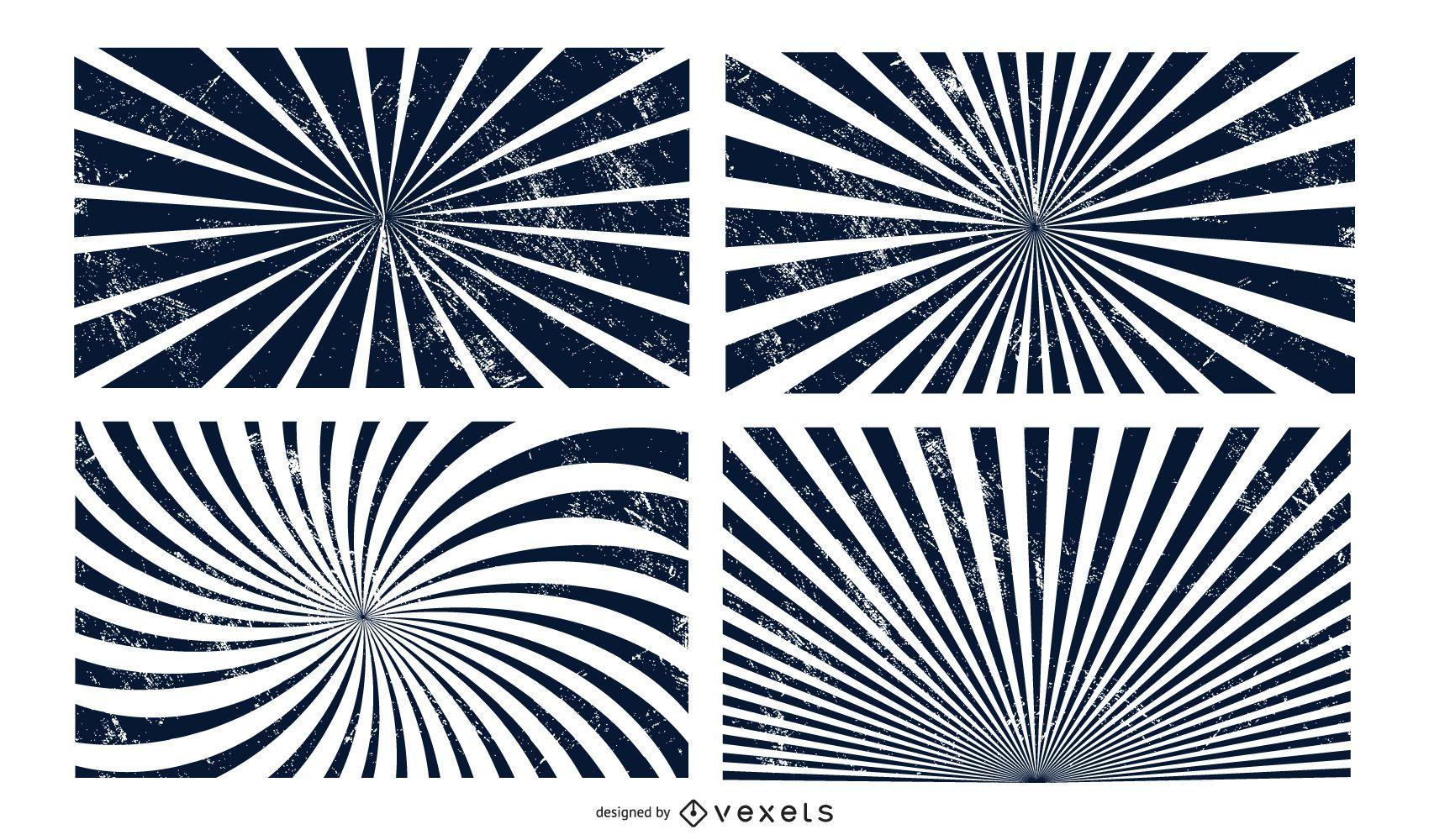 Paquete de vectores Grunge Sunburst