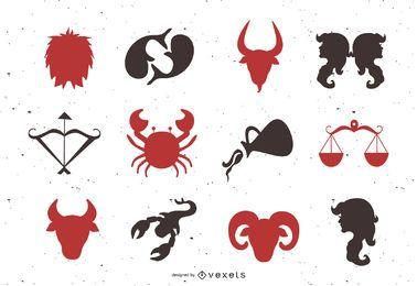 Conjunto de animais e ícones de horóscopo