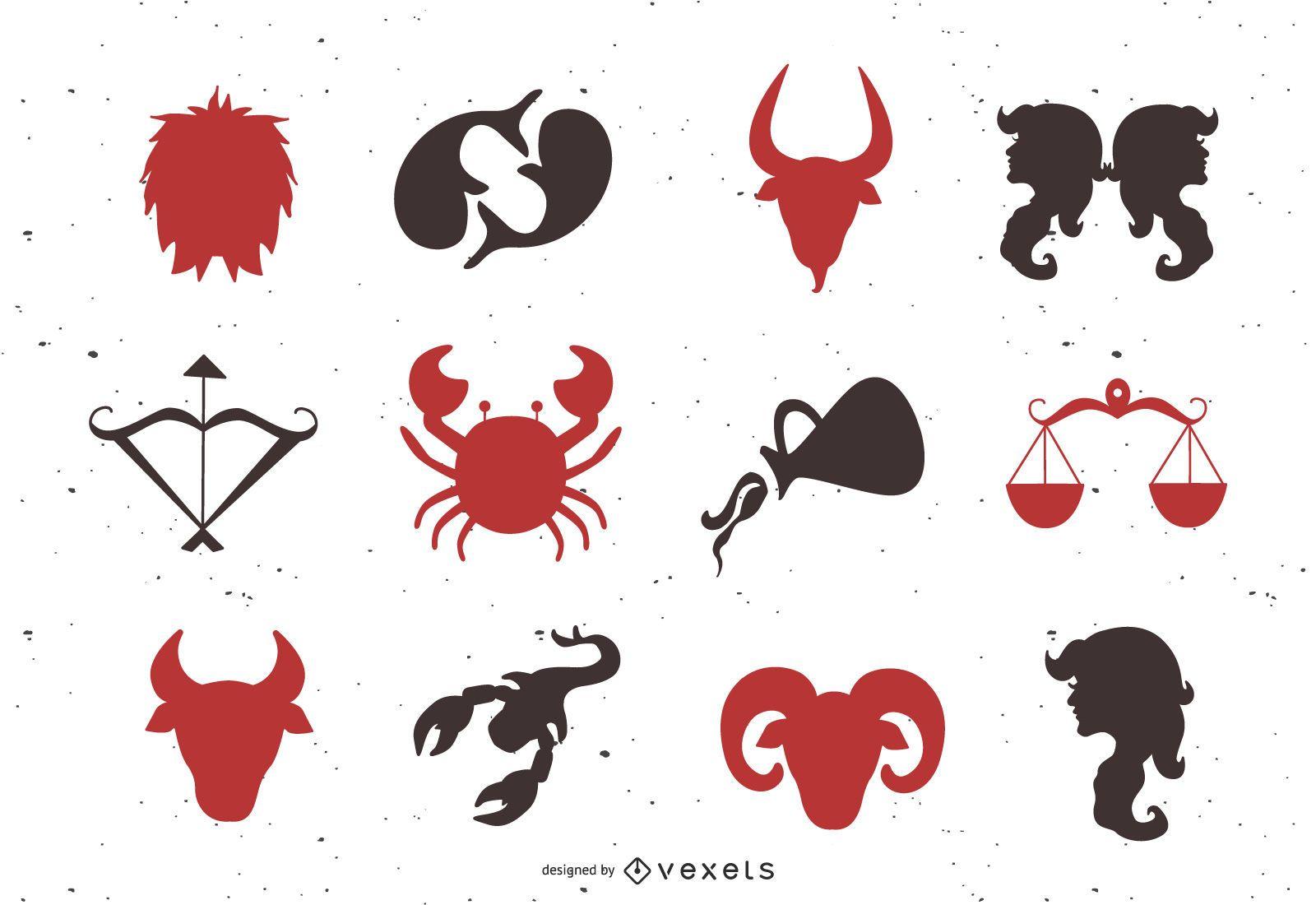 Horoscope animals and icons set