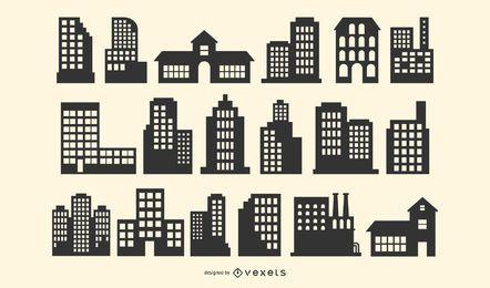 Edificio silueta paquete de vectores