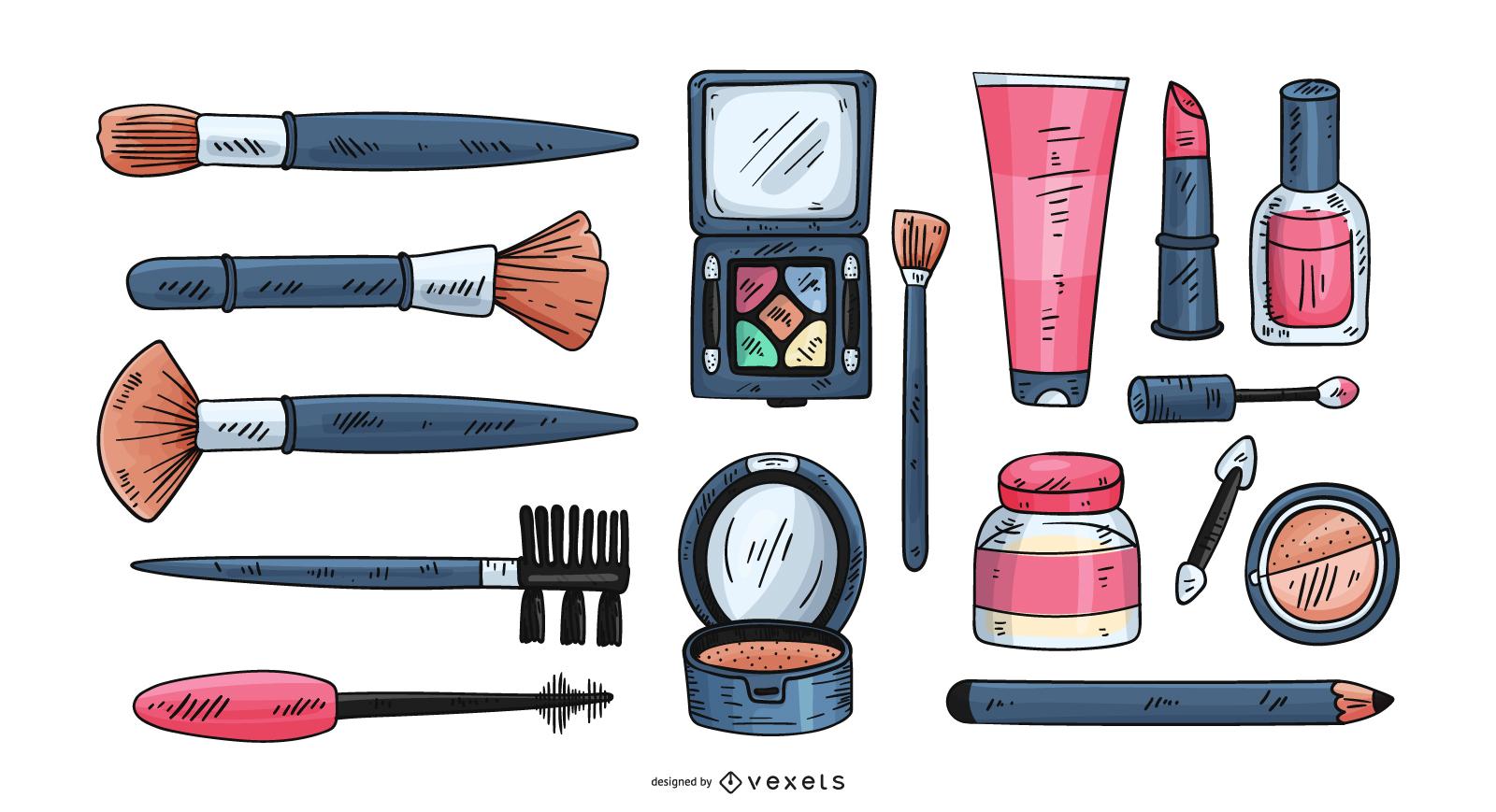 Conjunto de elementos de ilustração de cosméticos