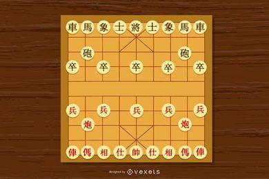 Vetor de xadrez chinês