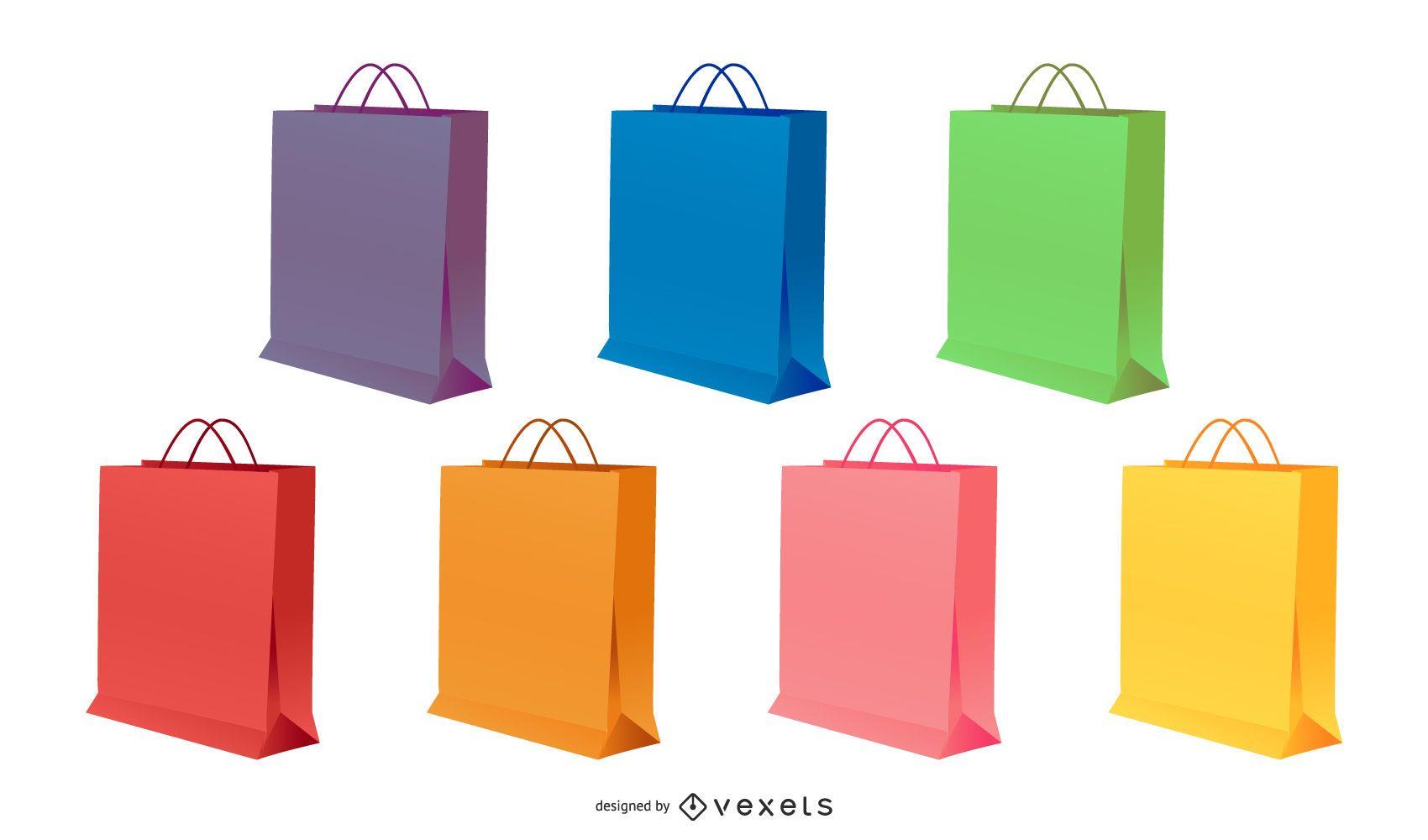 conjunto de ilustración de bolsas de papel de colores