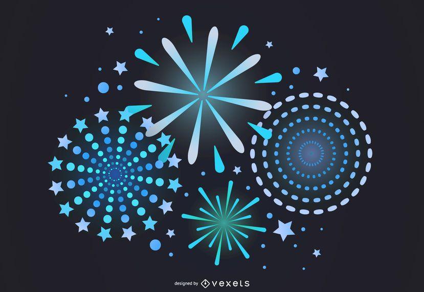 Vector 7 Brilliant Fireworks Fireworks