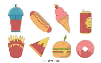 junk food illustration set