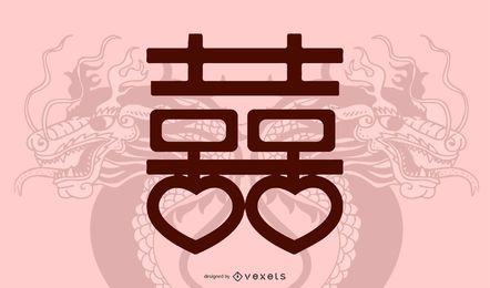 Doble dragón de la felicidad vector
