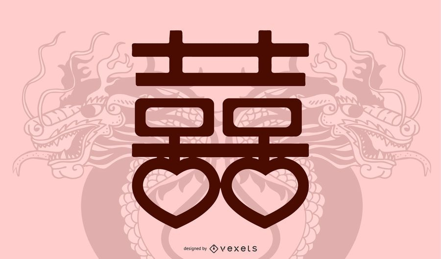 Double Happiness Dragon Vector