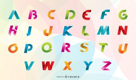 Cinta de origami 26 letras y números en inglés Vector 4