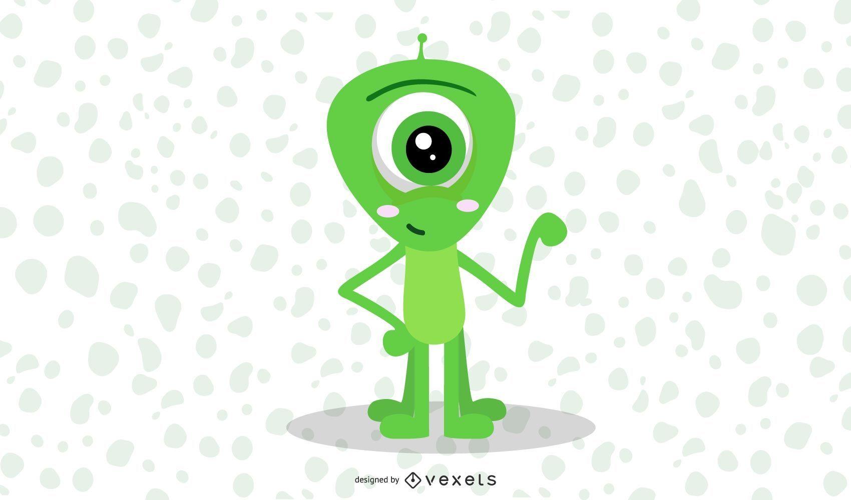 cute alien illustration design