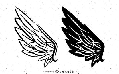 Schwarzweiss-Vektor-Flügel Schwarzweiss-Vektor-Flügel