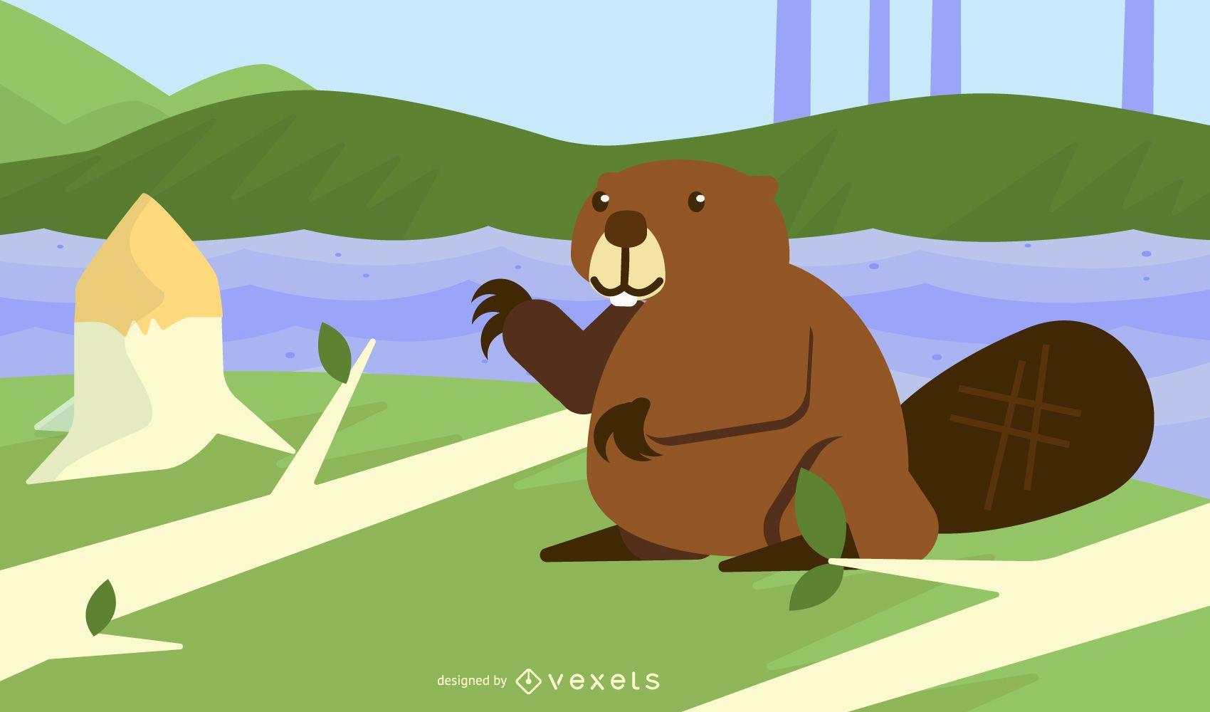 Beaver forest Vector design