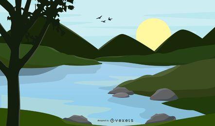3 paisajes vectoriales