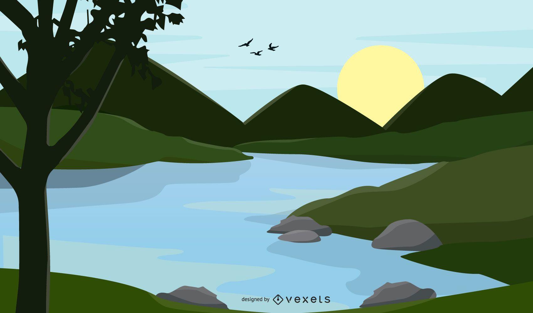 river landscape illustration