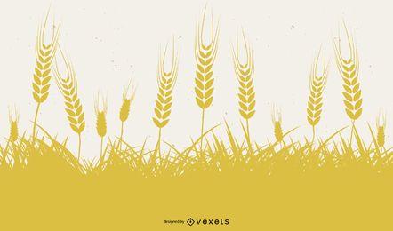 Diseño de silueta de trigo amarillo