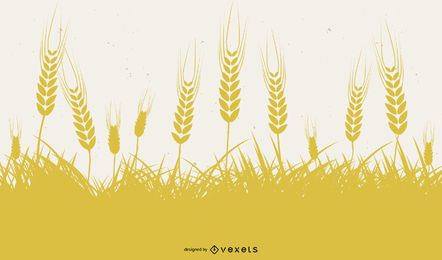 Yellow Wheat Silhouette Design