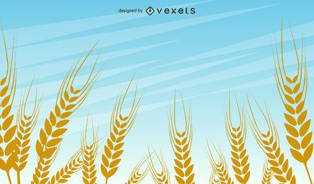 Diseño vectorial de campo de trigo